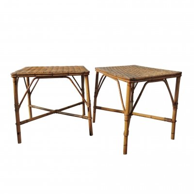 Pair of Bamboo Woven Topped Rattan Tables, 1970s