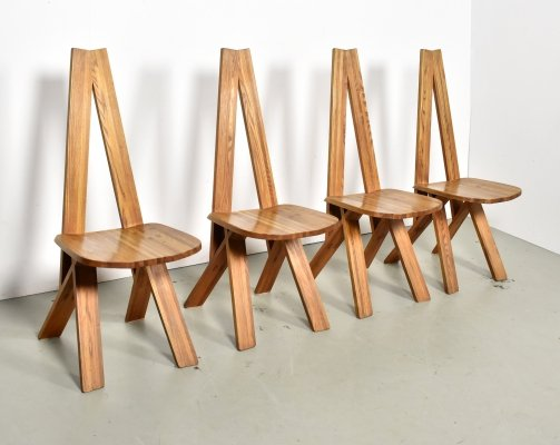 Set of 4 S45 dining chairs by Pierre Chapo for Chapo, 1970s