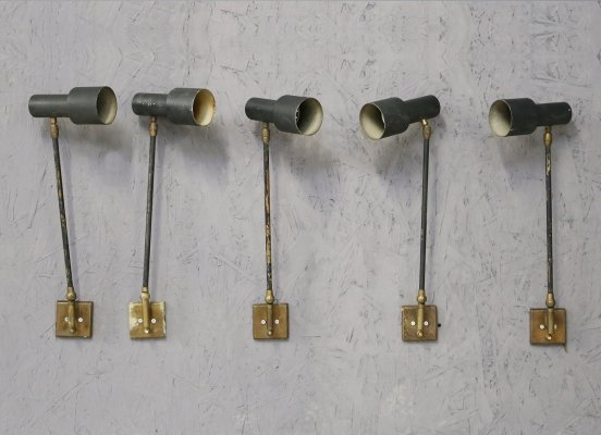 Set of 5 adjustable MidCentury Wall lamps by Stilnovo in Black in Brass, 1950s