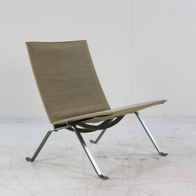 Poul Kjærholm PK22 chair by Fritz Hansen with original canvas upholstery