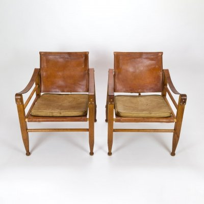 Pair of Aage Bruun Safari Chairs, Denmark 1960s