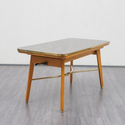 Midcentury height adjustable & extendable coffee -/ dining table with glass top