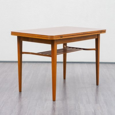 Vintage walnut dining -/ coffee table with fold-out table top