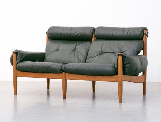 Green leather sofa by Profilia Werke, 1960s