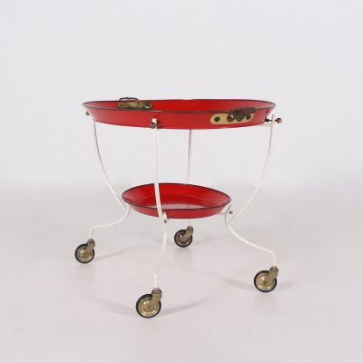 Red & white painted sheet metal serving trolley, 1960's