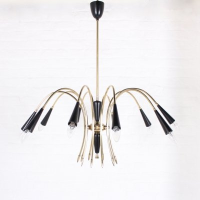Brass & black lacquered metal ceiling lamp, Italy 1960s
