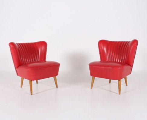 Pair of Red imitation leather lounge chairs, Hungary 1950's