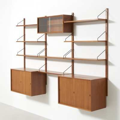 Wall shelving unit in teak by Poul Cadovius, Denmark 1950s