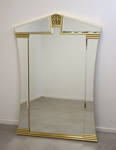 Gilded Facet cut Large Wall Mirror with Golden Lily