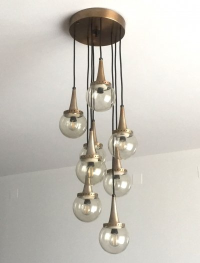 Space-Age Eight Glass Spheres Chandelier, Italy 1960's