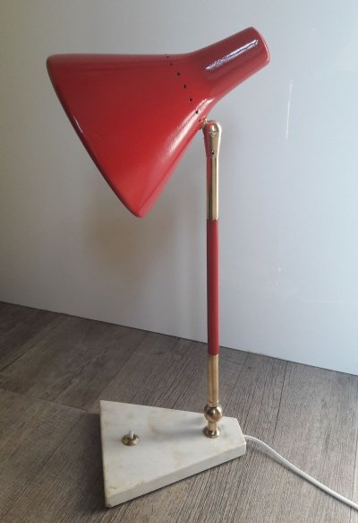 Italian Modern Red Table Lamp by Stilux Milano, 1960s