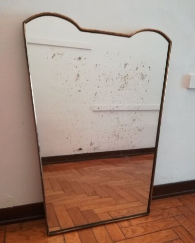 Italian Brass Shaped Mirror, 1950's