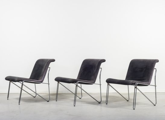 Modern architectural Danish lounge chairs, 1970's