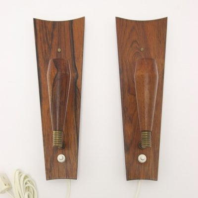 Pair of Scandinavian teak wall lamps, 1960s