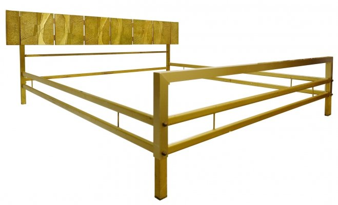 Luciano Frigerio Bed With Cast Bronze Panels, Italy 1960s