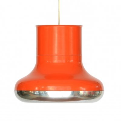 Orange pendant light 'Fluga' by Hemi, Sweden 1970s