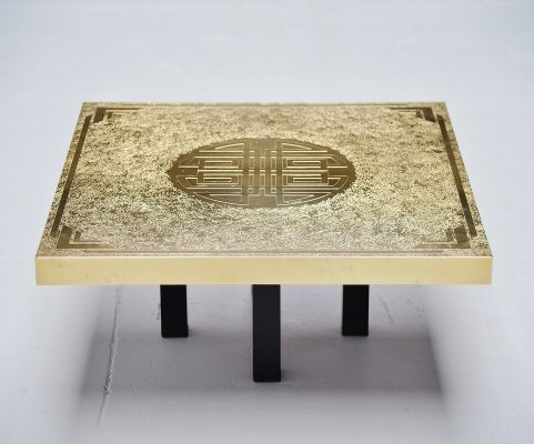 Elias Segura etched brass coffee table Belgium, 1991