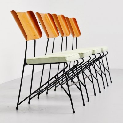 Carlo Ratti dining chairs for Legni Curva, Italy 1950