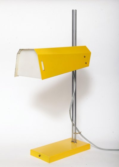 Yellow desk lamp by Josef Hůrka for Lidokov, 1960s
