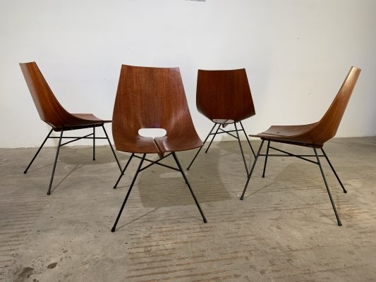 Set of 4 plywood chairs by Società Compensati Curvati, 1950s