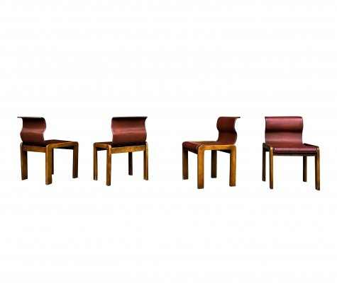 Set of 4 Afra & Tobia Scarpa midcentury leather & plywood dining chairs for private project, 1966 (Villa in Francavilla Fontana)