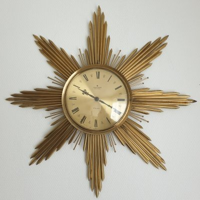 Mid-Century large brass Sunburst wall clock by Junghans, 1960s