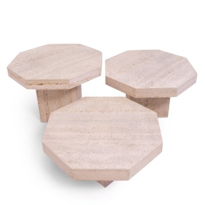 Italian Travertine Octagonal Nesting Tables, 1970s