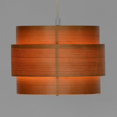 Pine veneer pendant light by Hans-Agne Jakobsson for Ellysett AB, Sweden 1970s