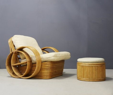 Midcentury Rattan Lounge Chair with Ottoman, 1950s