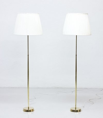 Pair of Swedish Brass Floor Lamps by ASEA, 1950s