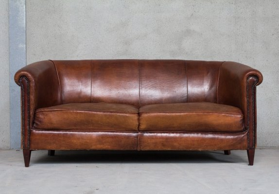 Two Seater Sofa in Sheep Leather, 1950s