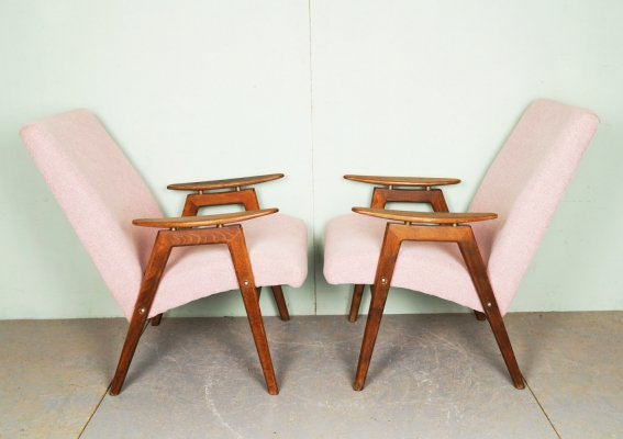 Vintage light pink lounge chairs, 1960s