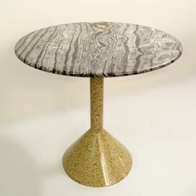 Italian granite & marble round dining table, 1980s