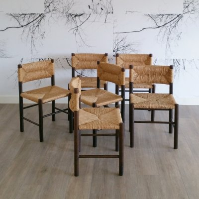 Set of 6 Wood & Rush Dining Chairs, 1970s
