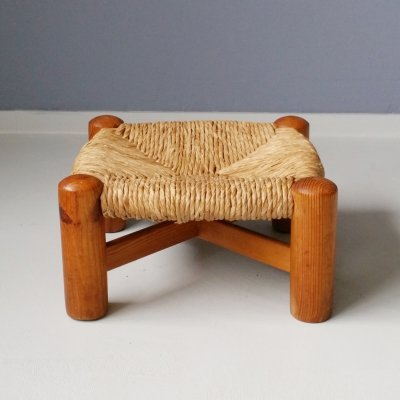 Low Stool with Rush Seat by Wim den Boon, 1950s