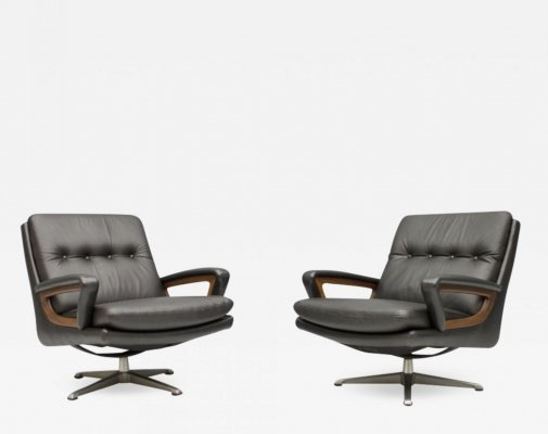 Pair of Dark Brown Leather Lounge Chairs by Carl Straub, 1960s
