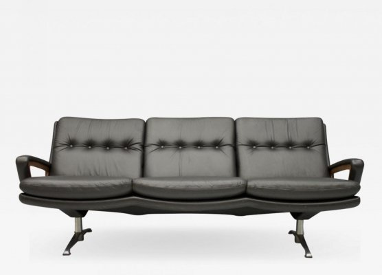 Dark Brown Leather Sofa by Carl Straub, 1960s