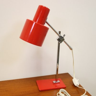 Red & orange desk lamp with chrome & steel
