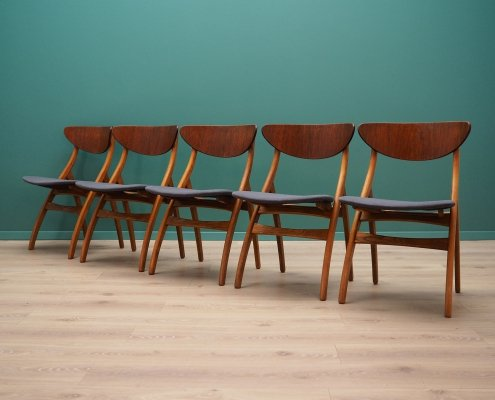 Set of 5 vintage chairs in teak, 1960s