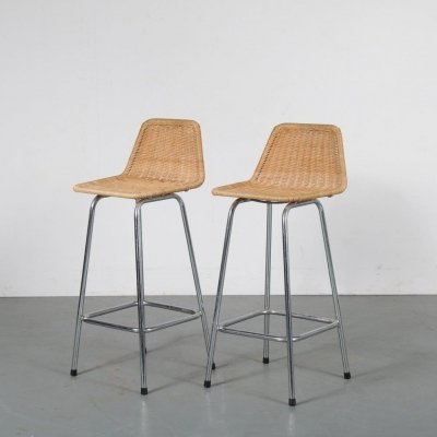 Pair of wicker bar stools by Rohé Noordwolde, 1950s