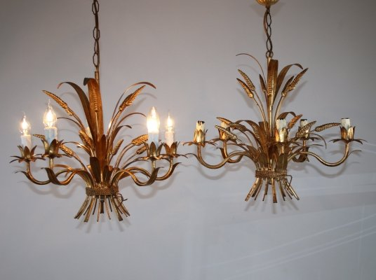 Pair of Goldplated Chandeliers by Hans Kögl, 1960s