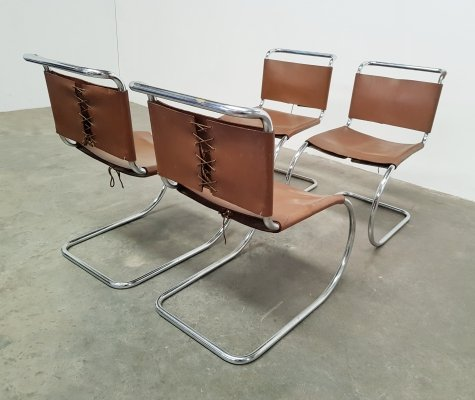 Set of 4 Mies van der Rohe MR10 chairs in brown leather, 1970s