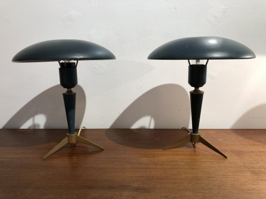 Pair of 'Bijou' Tripod Desk Lamps by Louis Kalff for Philips, 1950s