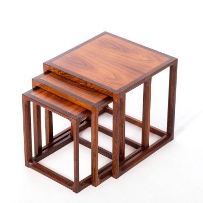 Rare vintage Danish rosewood nesting tables by Kai Krisitansen for Kjersgaard