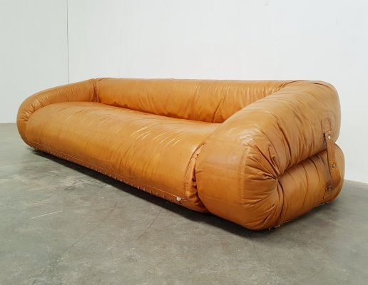 Original leather Anfibio sofa by Alessandro Becchi for Giovanetti, 1970s