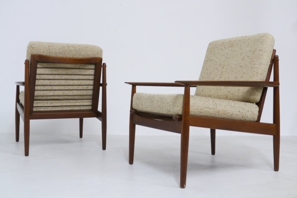 Pair of Svend Åge Eriksen Teak Easy Chairs, 1960s