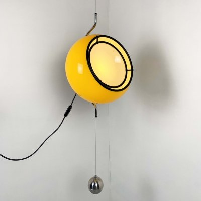 Rare Pendant Light with counterweight by Harvey Guzzini, 1970s