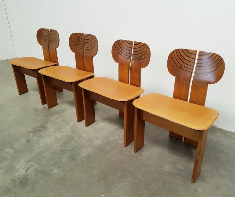 Set of 4 Artona Africa chairs by Afra & Tobia Scarpa for Maxalto, 1970s
