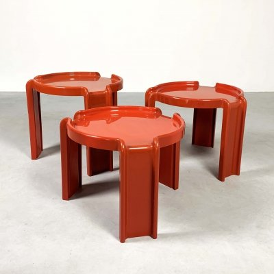 Red Gigo Nesting Tables by Giotto Stoppino for Kartell, 1970s