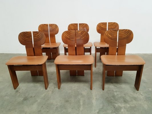 Set of 6 Africa chairs by Afra & Tobia Scarpa for Maxalto, 1970s